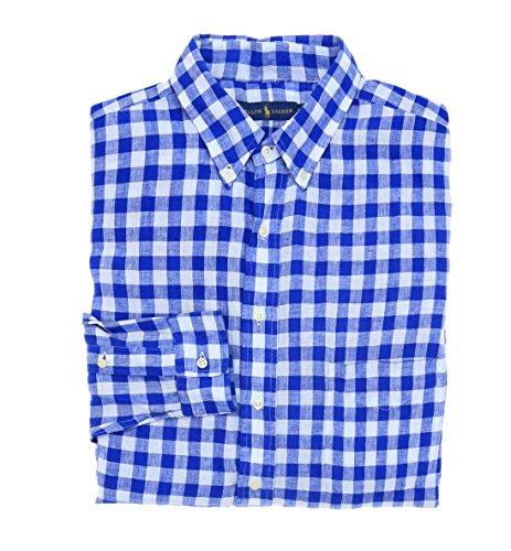 Polo Ralph Lauren Men's Gingham Linen Long Sleeve Shirt-SB-2XLT (Mens Sb Lauren Ralph)