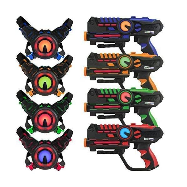 519Su9657GL. SS600  - ArmoGear Laser Tag – Laser Tag Guns with Vests Set of 4 – Multi Player Lazer Tag Set for Kids Toy for Teen Boys & Girls…