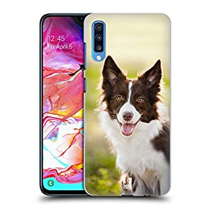Head Case Designs Brown Border Collie in Summer Popular Dog Breeds Hard Back Case Compatible for Samsung Galaxy A70 (2019) 2