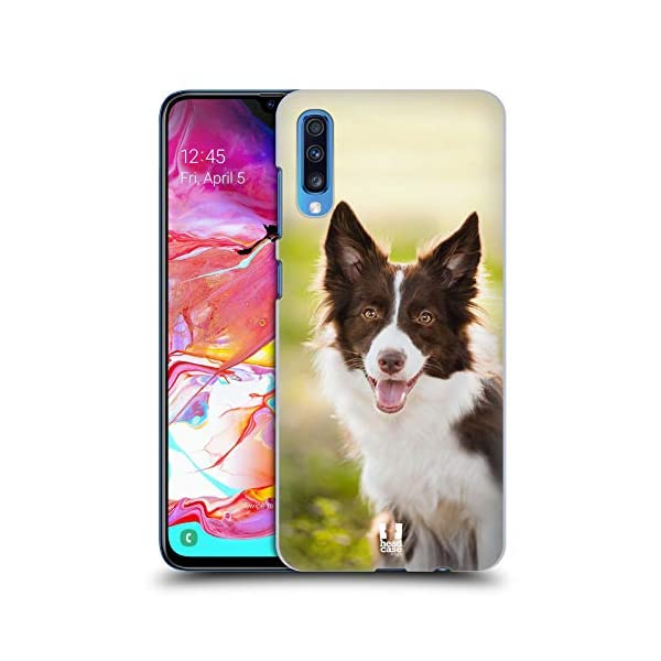 Head Case Designs Brown Border Collie in Summer Popular Dog Breeds Hard Back Case Compatible for Samsung Galaxy A70 (2019) 1