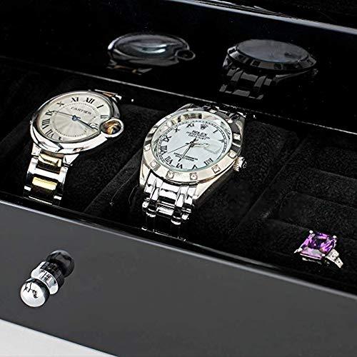 Aublan caja de almacenamiento de madera para 6 relojes con pantalla táctil LCD.: Amazon.es: Relojes