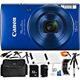 Canon PowerShot ELPH 190 IS Digital Camera (Blue) - International Version (No Warranty) 32GB Bundle 19PC Accessory Kit Which Includes Two Replacement NB-11L Batteries, Full Size 57 Tripod, MORE
