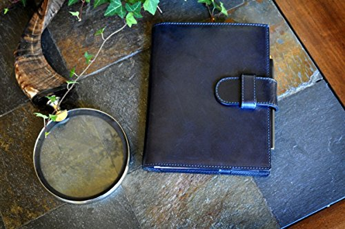Medium Vachetta Strap Padfolio (Midnight Blue) by Borlino