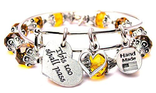 This Too Shall Pass Yellow Crystal Beaded Bracelet Collection