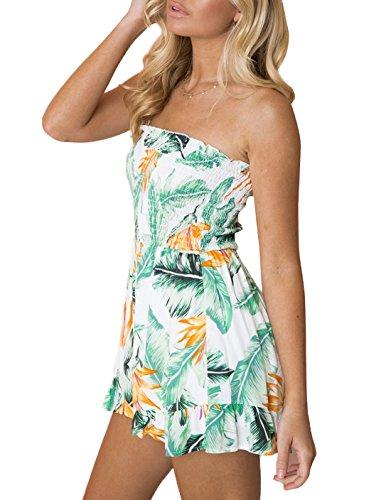 Beach Fascia Jumpsuits Rompers Mini Intere Floreali Playsuits Monopezzi Moda Donna Verde Corto Sexy Vestito Tutine Onenight Estivo A Volant Partito OnzwZ
