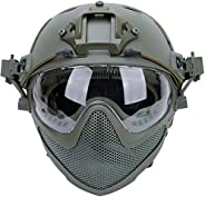 Tactical Airsoft PJ Helmet F22, A Full-Face Protective Helmet with Detachable Mask and Goggles, Outdoor Riding