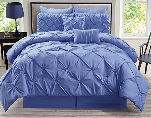 8 Piece Rochelle Pinched Pleat Lavender Comforter Set King (8 Bath Piece Sheet)