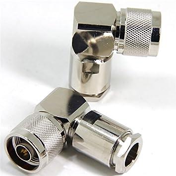 Ancable - Juego de 2 conectores macho tipo N para soldar de ángulo recto de 90