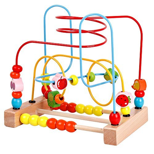 YIRAN Wooden Fruits Bead Maze Roller Coaster Game Educational Toys for Toddle...
