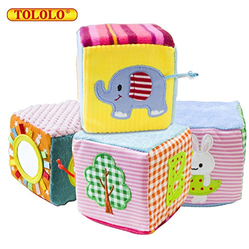 Soft Rattle Baby Blocks;TOLOLO Baby Building Blocks Foam Grab and Stack Building Blocks with Safety Mirror Cubes by TOLOLO