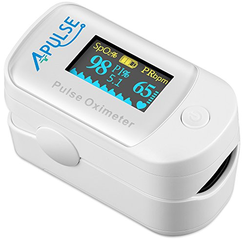 Pulse Oximeter Fingertip, APULSE Blood Oxygen Saturation Monitor with Alarm, OLED Display Oximeter with Silicone Cover, Carrying case, Batteries and Lanyard (White) by APULSE