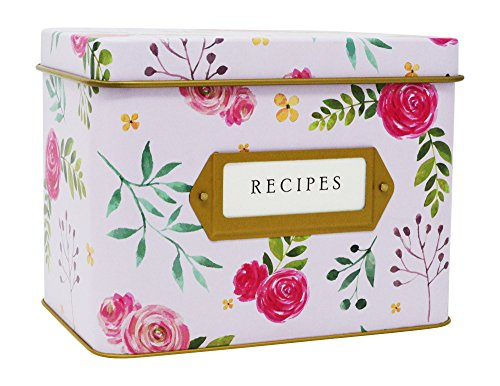 - Jot & Mark Recipe Card Box Tin | Decorative Tin for 4x6 Recipe Cards
