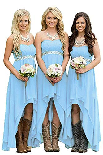 Strapless Bridesmaid Dresses High Low Chiffon Beach Wedding Party Dress for Women A line Sky Blue