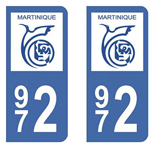 Paire Sticker immatriculation 972 Martinique