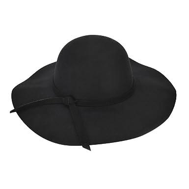 f6c7e895277 Women Floppy Wide Brim Wool Felt Cap Tea Garden Church Party Cap Hat  Foldable Classic Plain