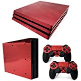 Chickwin PS4 Pro Vinyl Skin Full Body Cover Sticker Decal For Sony Playstation 4 Pro Console and 2 Dualshock Controller Skins (Red Glossy)
