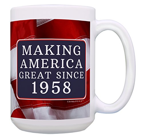 60th Birthday Gifts for All Making America Great Since 1958 Turning 60 Birthday Gift Ideas MAGA Coffee Mug Birthday Mug MAGA Gifts 15-oz Coffee Mug Tea Cup 15 oz American Flag by ThisWear (Image #1)