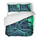 SanChic Duvet Cover Set Circuit Board Electronic Computer Hardware Technology Motherboard Digital Chip Tech Science Integrated Decorative Bedding Set with 2 Pillow Shams Full/Queen Size