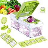 Vegetable Chopper, 11 in 1 Food Chopper Cutter Onion Slicer Dicer, Kitchen Veggie Slicer Manual Mandolin Slicer for Cheese, Fruit Julienne, Garlic, Cabbage, Carrot, Potato, Tomato, Fruit, Salad