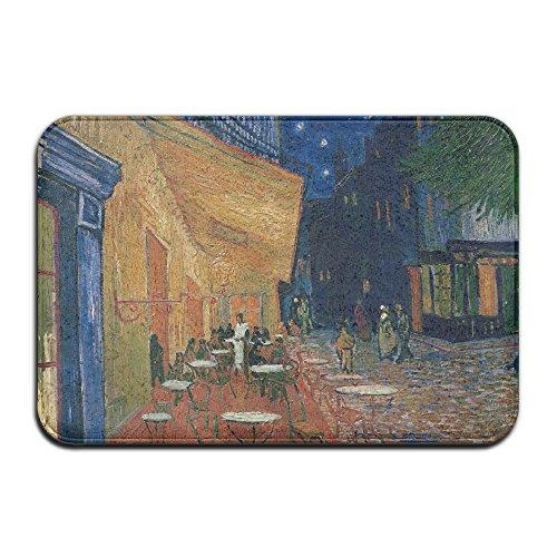 Cafe Gauguin Night - Cafe Terrace In Arles At Night Non-Skid Slip Door Mat Washable Indoor/Outdoor Low Profile Doormat With Stylish Door Inspired Design
