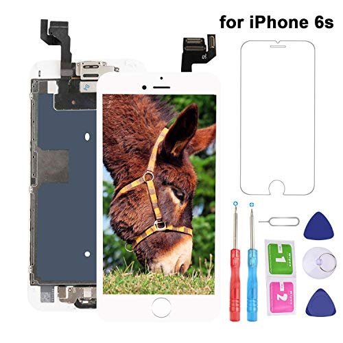for iPhone 6S Screen Replacement LCD White - with Home Button Proximity Sensor Ear Speaker Front Camera Screen Protector and Repair Tools