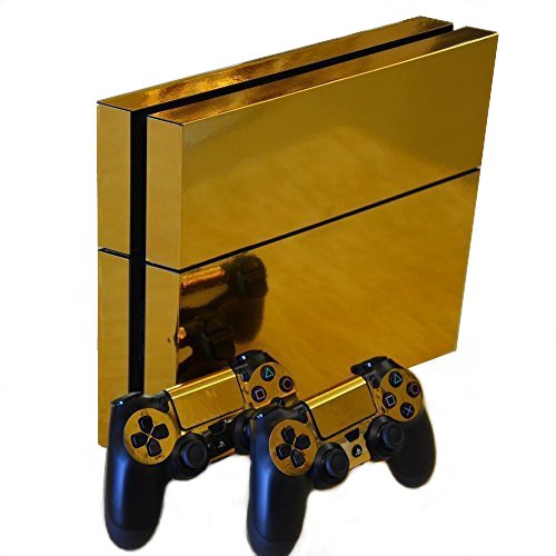 Honbay Gold Glossy Decal Skin Sticker for Playstation 4 PS4 Console+Controllers