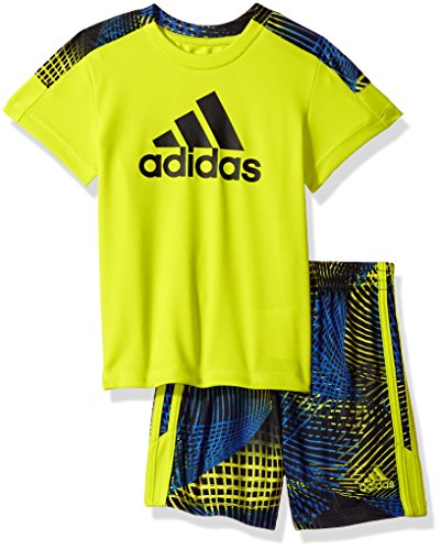 adidas Baby Boys Short Sleeve Tee and Short Set, Semi Solar Yellow, 24M