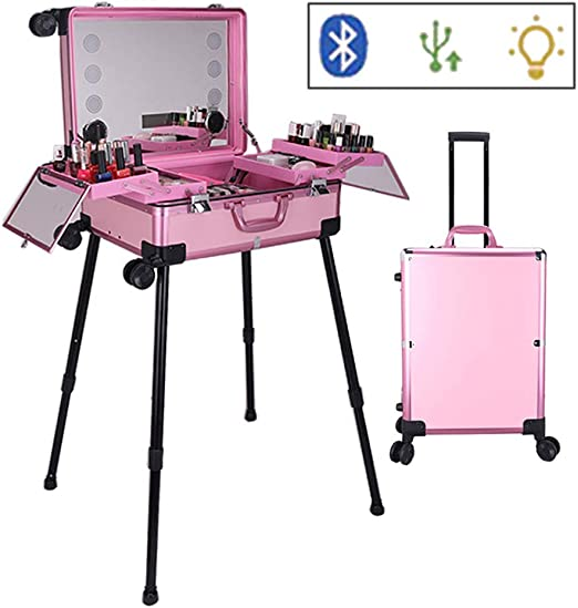 Estuche de maquillaje Trolley Estuche de belleza con espejo grande iluminado y Bluetooth Estuche de cosméticos USB Estudio de viaje para maquilladores con bandejas Estuche de maquillaje de belleza: Amazon.es: Jardín