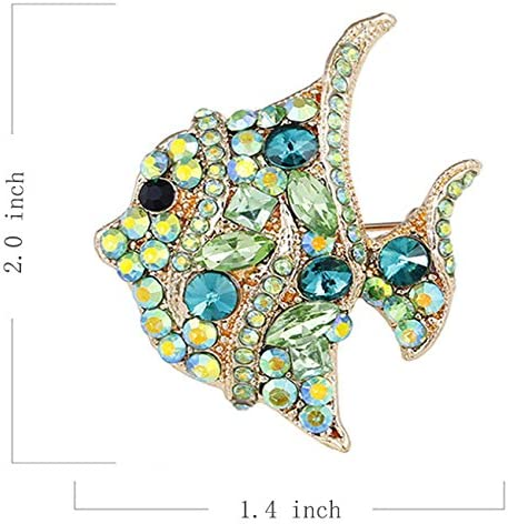 menoa Fish Brooch Pin Green Style Delicate Rhinestone Gold Plated Cocktail Casual Lovely Gift