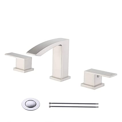 Kes 2 Handle 8 Inch Widespread Bathroom Sink Waterfall Faucet Lavatory Vanity Brass Faucet Lead Free With Supply Lines And Drain Assembly Brushed