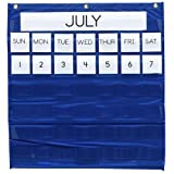 Wholesale CASE of 10 - Pacon Monthly Calendar Pocket Chart-Monthly Calendar Pocket Chart, 25''x28'', Blue