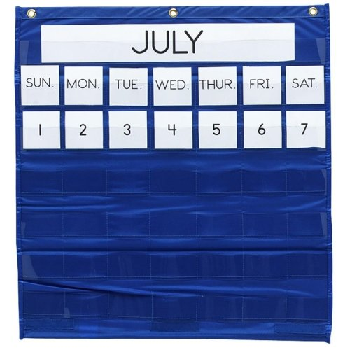 Wholesale CASE of 10 - Pacon Monthly Calendar Pocket Chart-Monthly Calendar Pocket Chart, 25''x28'', Blue by PAC