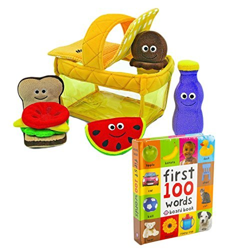 Baby and Toddler Learn and Play Bundle - First 100 Words Board Book with Melissa & Doug Picnic Basket Fill and Spill - Ages 6 Months And Up