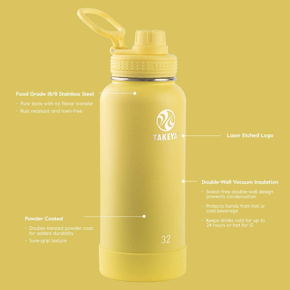 Takeya Actives Insulated Stainless Steel Water Bottle with Spout Lid Canary 18 oz