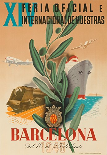 Barcelona Vintage Poster artist: Bigorda Spain c. 1946 Collectible Art Print, Wall Decor Travel