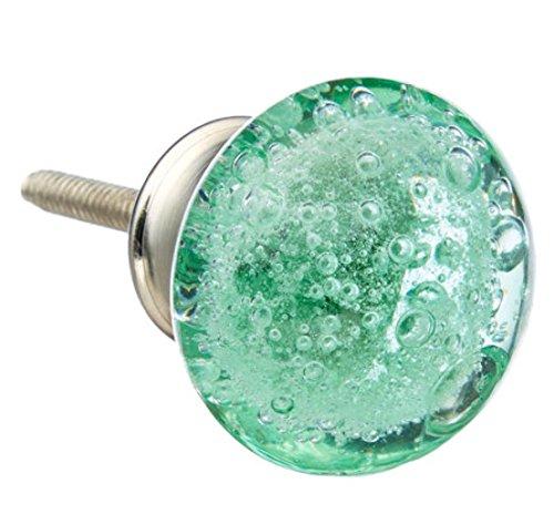 Green Bubbles Glass Dresser Drawer, Kitchen Cabinet Drawer or Door Knobs - Pack of 12