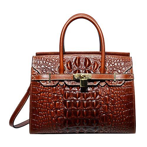 PIJUSHI Women Purses And Handbags Crocodile Top Handle Satchel Bags Designer Padlock Handbags (9016 Brown)