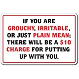 """IF YOU ARE GROUCHY IRATABLE OR MEAN $10 CHARGE Sign business  Indoor/Outdoor   12"""" Tall"""