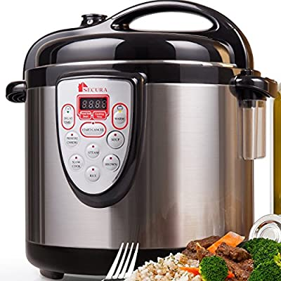 Secura 6-in-1 Programmable Electric Pressure Cooker 6qt, 18/10 Stainless Steel Cooking Pot from Secura