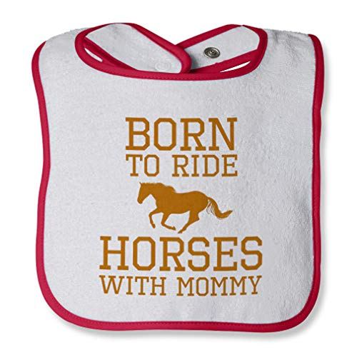 (Born To Ride Horses With Mommy Cotton Boys-Girls Baby Terry Bib Contrast Trim - White Red, One Size)