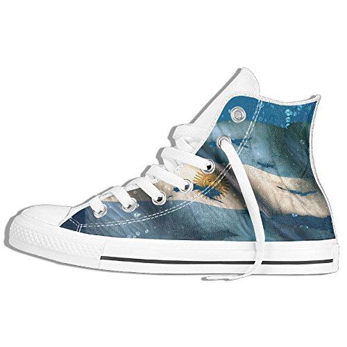 Classic High Top Sneakers Canvas Shoes Anti-Skid Argentina Flag Casual Walking For Men Women White ROUp5w1Je