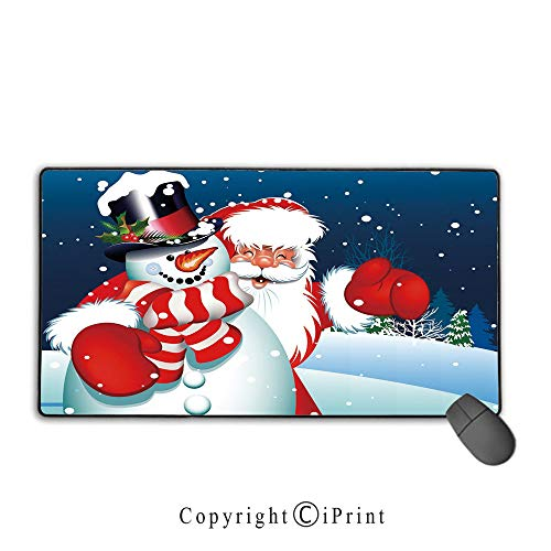 Waterproof Coated Mouse pad,Christmas,Smiling Santa Claus Hugging Snowman in Cartoon Style Winter Hills Fir Trees Decorative,Blue Red White,Suitable for laptops, Computers, PCs, Keyboards, Mouse pad