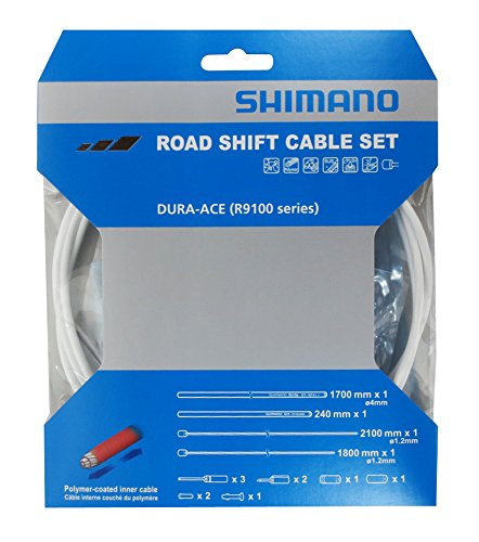 (Shimano Dura-Ace R9100 SP41 Polymer-Coated Derailleur Cable Set, White )