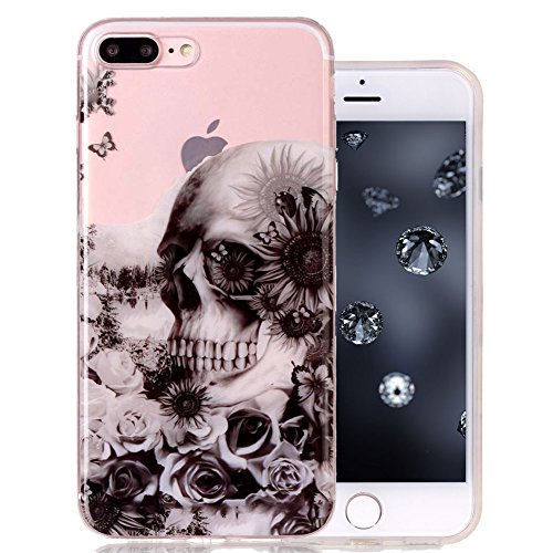 - Clear iPhone 7 Plus Case Protective iPhone 8 Plus Case Aeeque Ultra Thin [Slim Fit] Transparent Anti-Scratch Soft Gel Silicone Rubber Phone Cases Cover for iPhone 7+/7Plus/8+/8Plus, Black Skull Rose