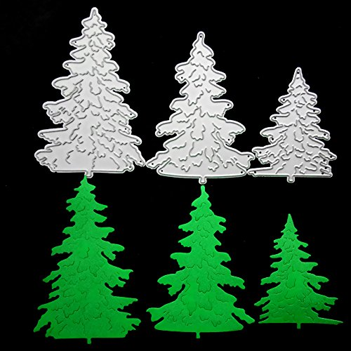 (Pine Tree Metal Cutting Dies for Card Making, NOMSOCR Cut Die Metal Stencil Template Mould for DIY Scrapbook Embossing Album Paper Card Craft Birthday Festival Decoration (Pine Tree))