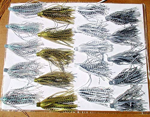 Experience Real Fishing 20ct SHAD Assortment 3 inch Silicone Skirts Hula Style Push-On Bass Spinnerbaits World Class Fishing