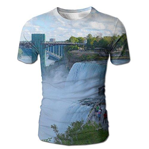 Vicrunning American Falls and Rainbow Bridge at Niagara Men T Shirts Cool Adult Crew Neck Short Sleeve Tshirt -