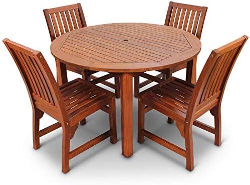 Brackenstyle Devon Hardwood Dining Set 4 Seat Round Indoor Or
