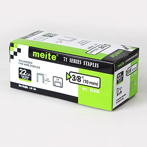 meite 22GA 71Series 3/8-Inch Crown By Leg Length 3/8-Inch 22G71S38 Galvanized Fine Wire Staples(10000pcs/Box)