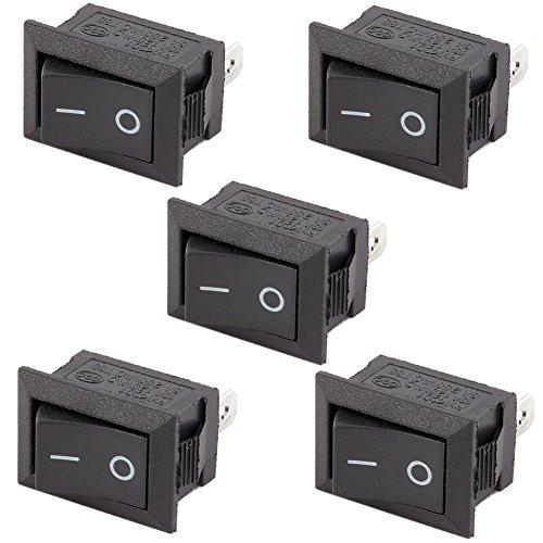 Icstation 2 Pin Mini SPST On Off Rocker Switch Solder Lug Black Button 6A/250V 10A/125V (Pack of (10a Rocker Switch)